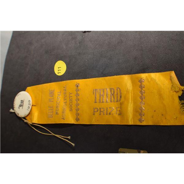 Belle Plaine Sask 1928 award pin