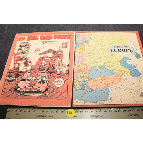1939 World map and Walt Disney scribblers