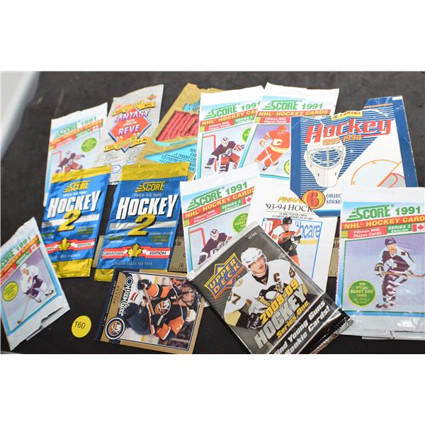 Hockey cards and wrappers