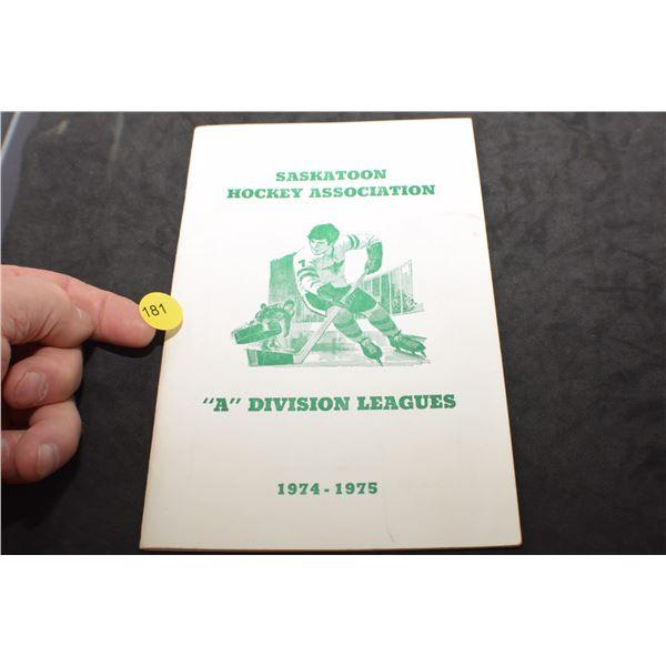 1974-75 Saskatchewan hockey photograph