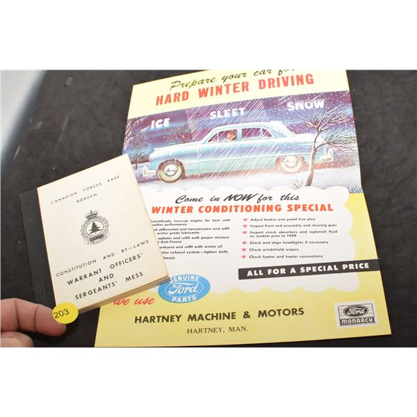 Mint Ford Brochure and CFB mess book