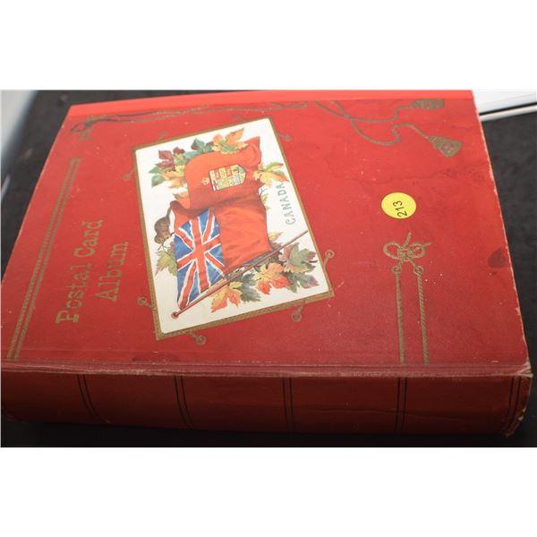 Antique postcard album c/w over 282 postcards