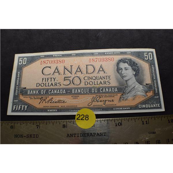 1954 Canada $50 bank note/bill