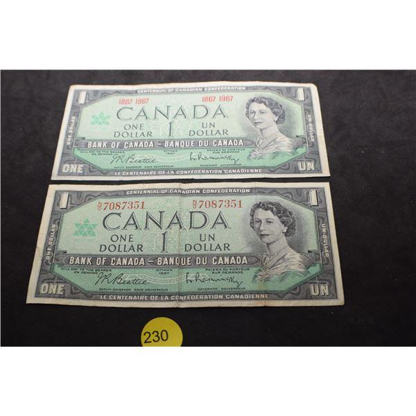 2 X Canada $1 bank notes, 1 has regular serial numbers