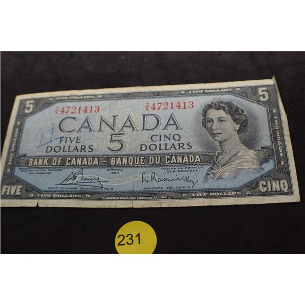 1954 Canada $5 bank note