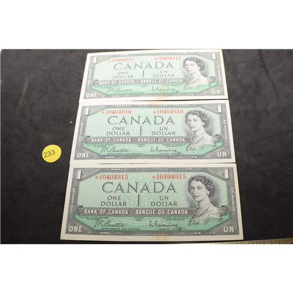 1954 Canada $1 * Star bank notes in sequence