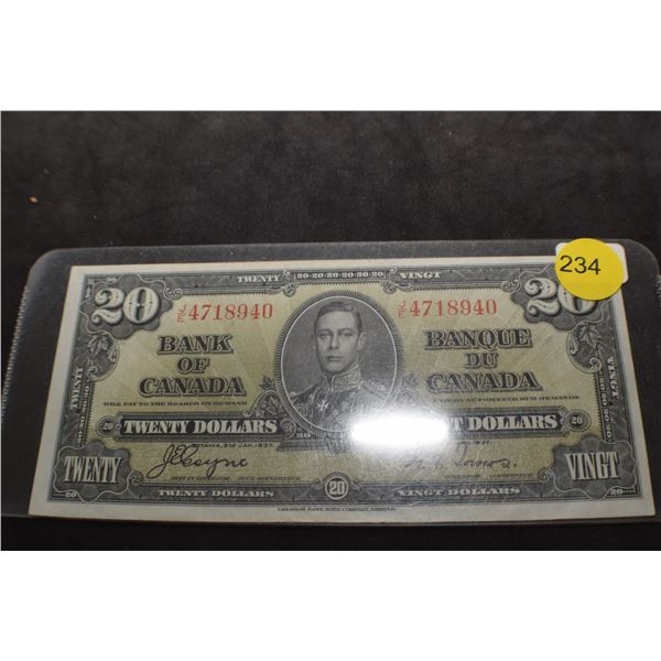 1937 Canada $20 bank note