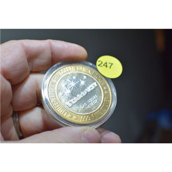 $10 Las Vegas .999 Silver gaming token