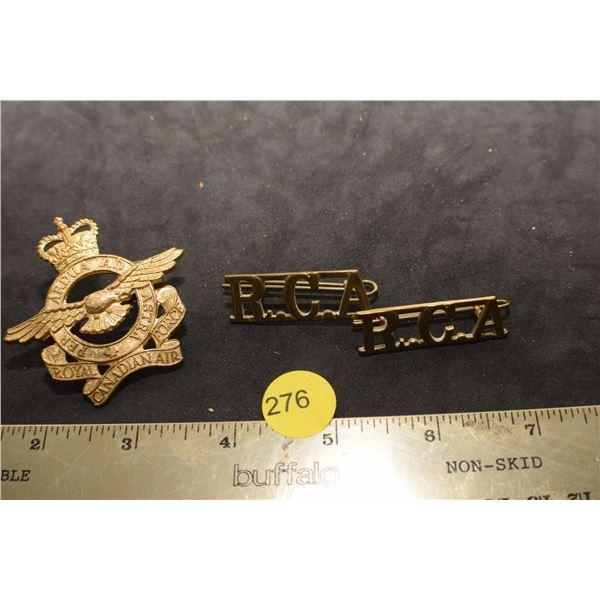 Royal Canadian Air Force cap badge & RCA Collar dogs