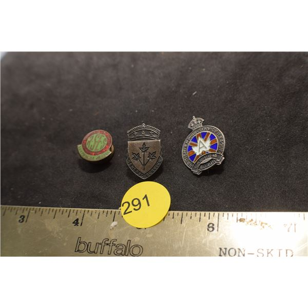 Sterling Legion & Service pin and Engineer pin