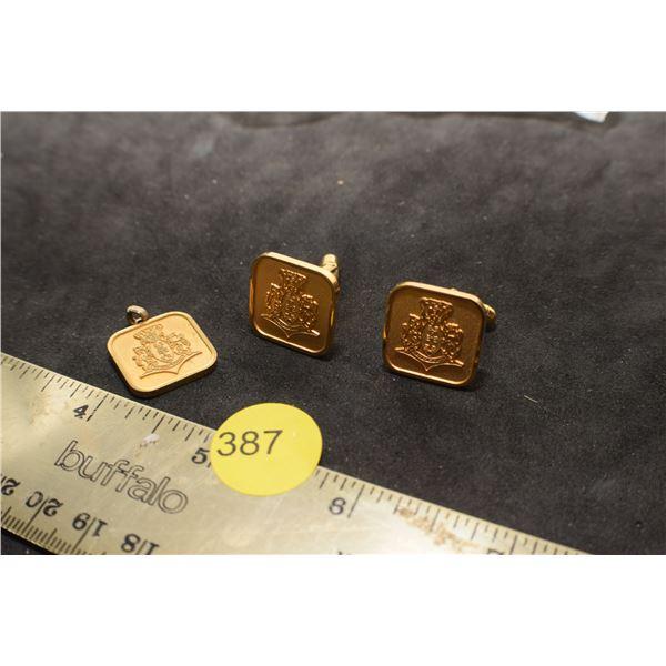 Gold Plated Cufflinks & pendant