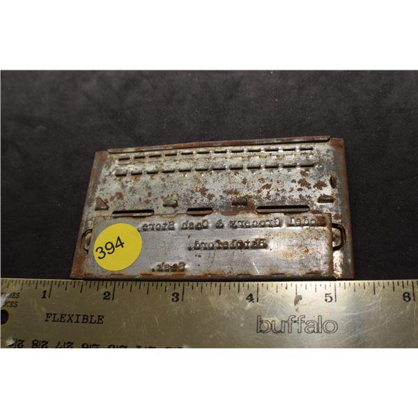 Model grocery store Battleford imprint plate