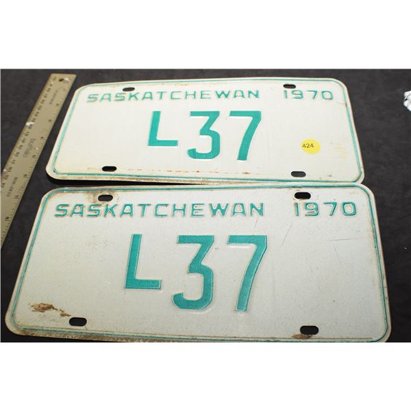 1970 2 digit Sask Livery license plate