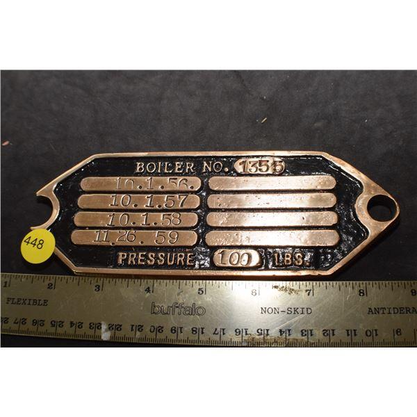Heavy Brass Boiler CNR plate fr train