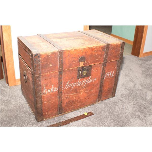 1881 Antique Pine chest/Trunk