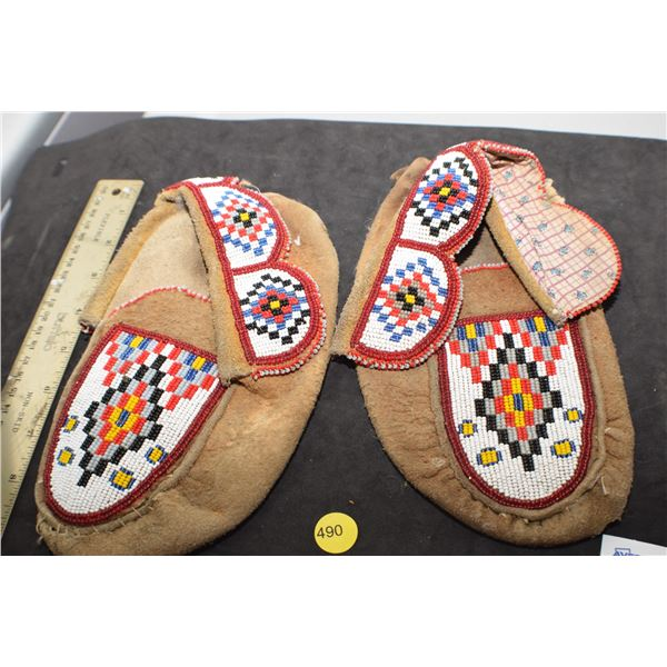 Very old Native Indian Moccasins (poor but great beads)
