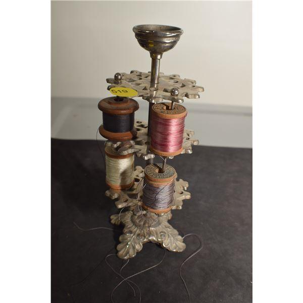 Antique Nickle Thread Caddy Victorian