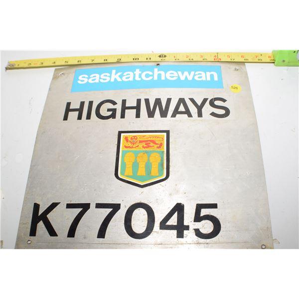 Sask Highways Sign