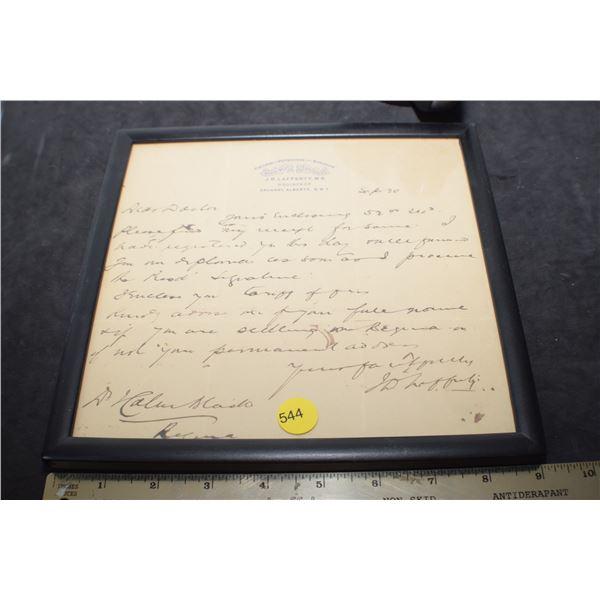 Antique Doctors Letter - Calgary N.W.T.