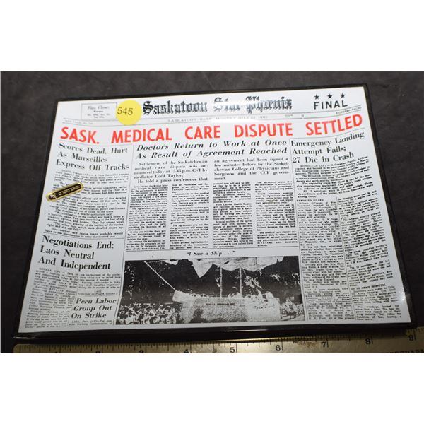 1962 Star Phoenix Saskatoon ashtray