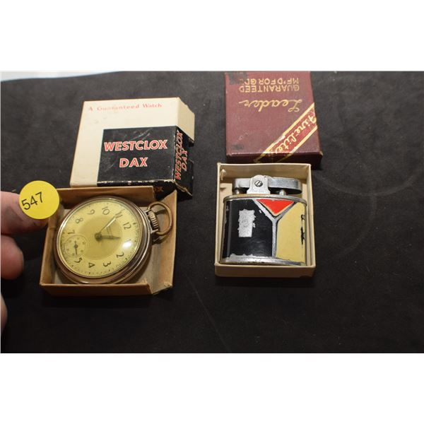 antique Pocket Watch and Lighter