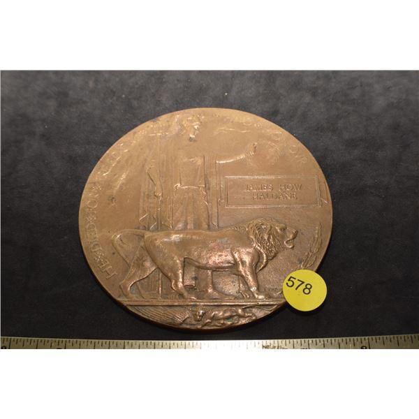 WW I Death Plaque/Death Penny
