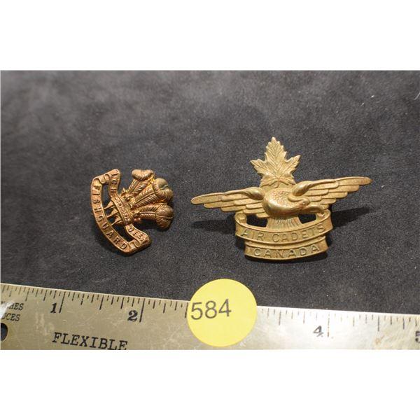 2 X Cdn Regiment badge