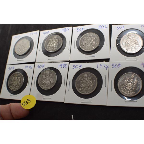 8 Canada 50 cent pieces