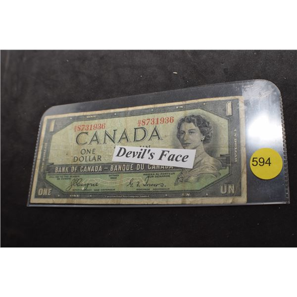 """1954 Canada """"Devil Face"""" bank note"""