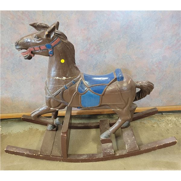 """Antique carved heavy Wooden Horse Rocker - 3' H X 44"""" L  some age cracking"""