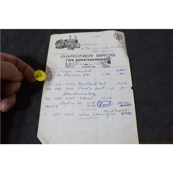 Red Indian Oil invoice