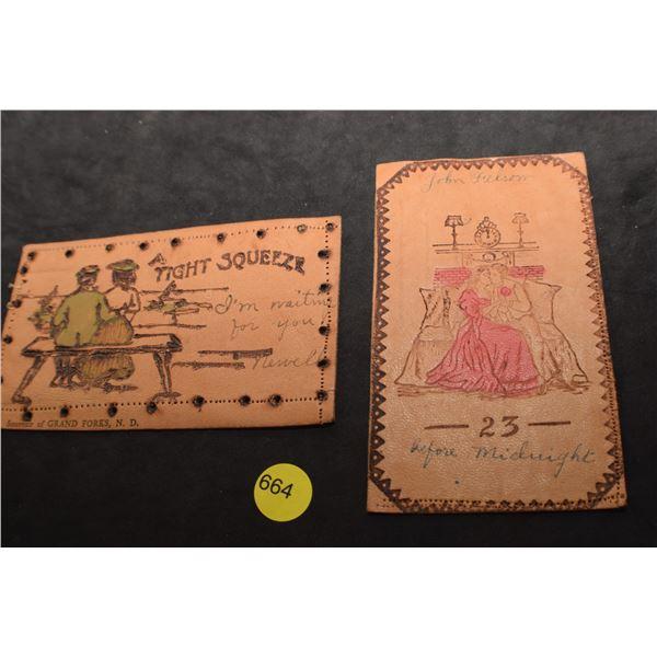 2 leather postcards