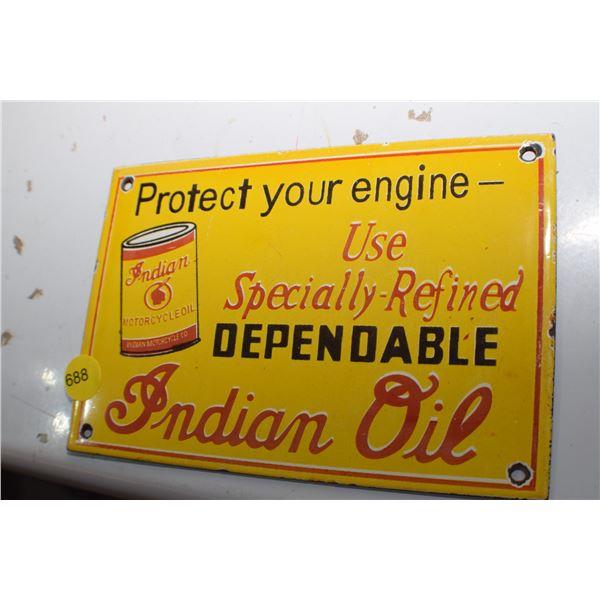 Indian Oil Porcelain Sign - fantasy