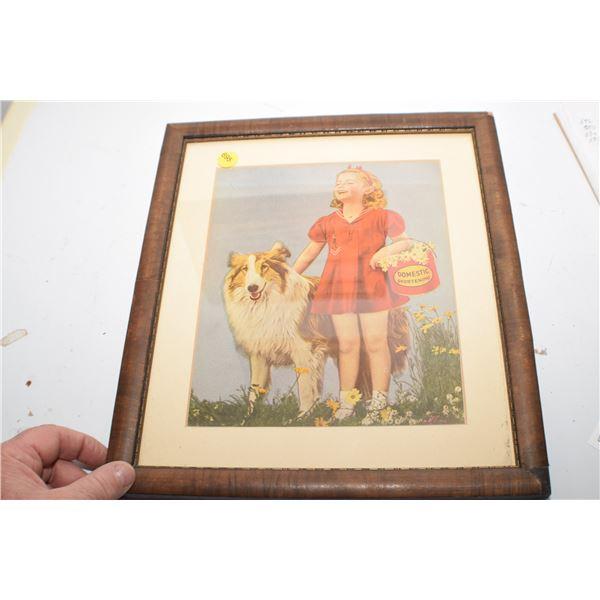 Antique Domestic Shortening advertising picture Lassie