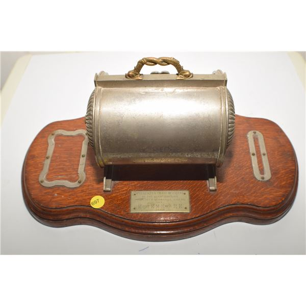 Historical 1889 desk cigar holder, presented to a Submarine miner