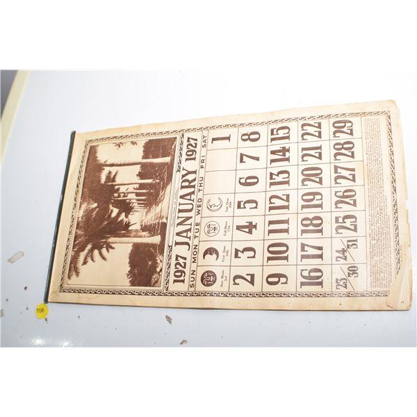 1927 USA/Canada Calendar