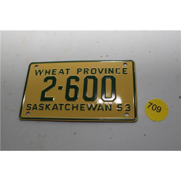 1953 Wheaties Mini License plate Sask
