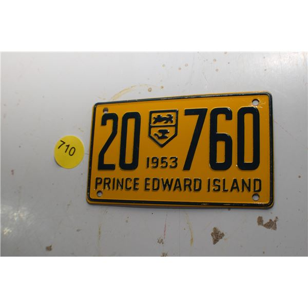 1953 Wheaties Mini License plate PEI