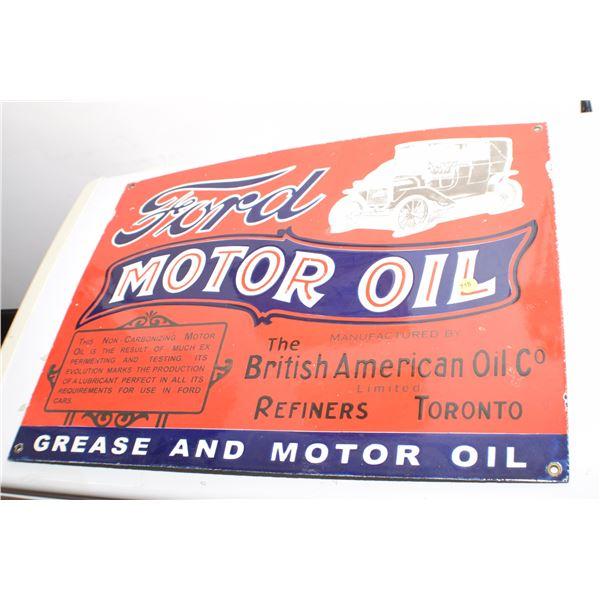 Ford/British American Oil porcelain fantasy sign 24 X 18