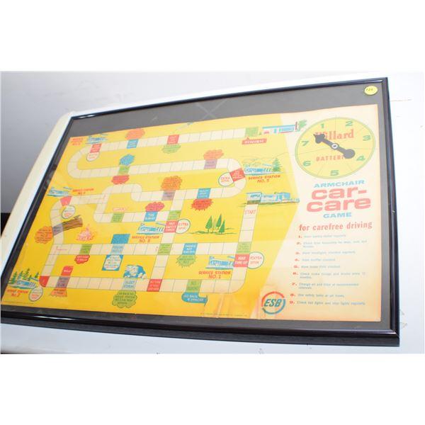 Antique Willard Battery framed game 23 X 16