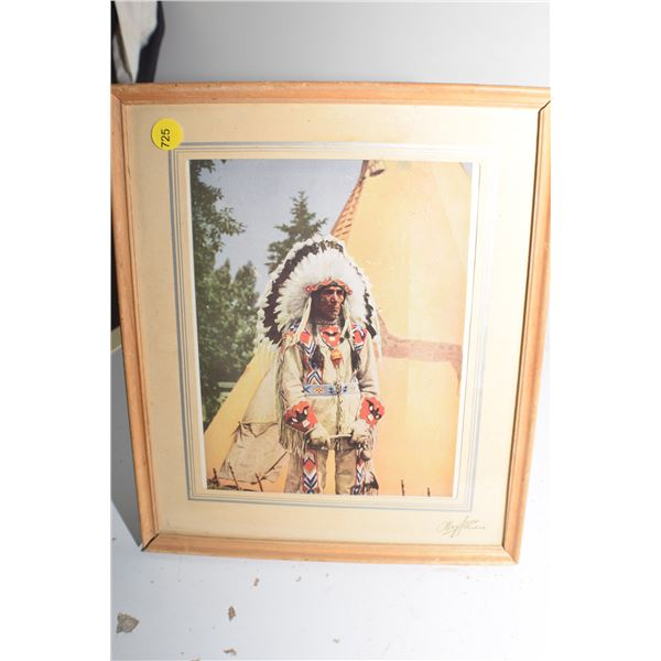 Framed Indian Chief 10 X 12
