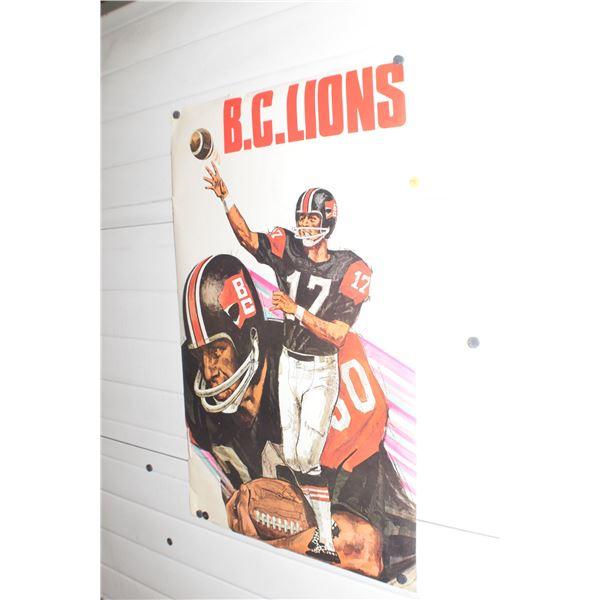 "24 X 36"" Vintage BC Lions CFL poster"
