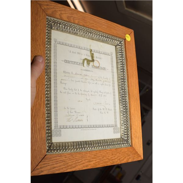 1856 Marriage License - oak frame
