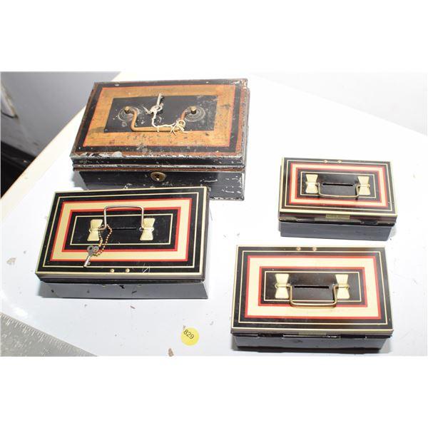 Nesting Antique Cash boxes & keys