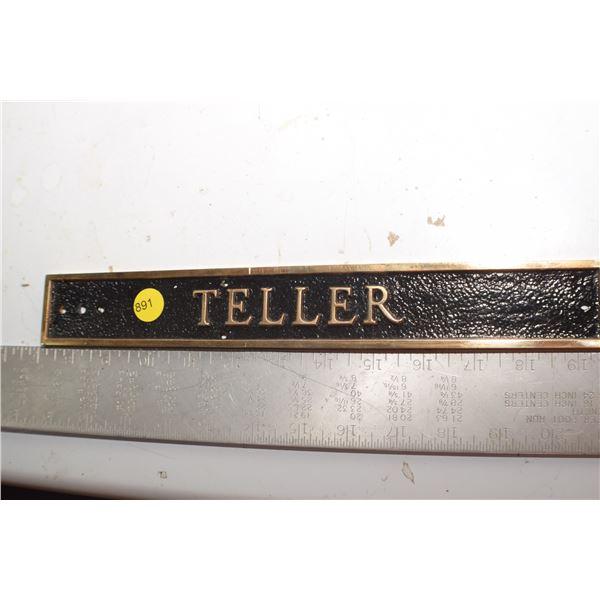 Antique Brass Teller sign