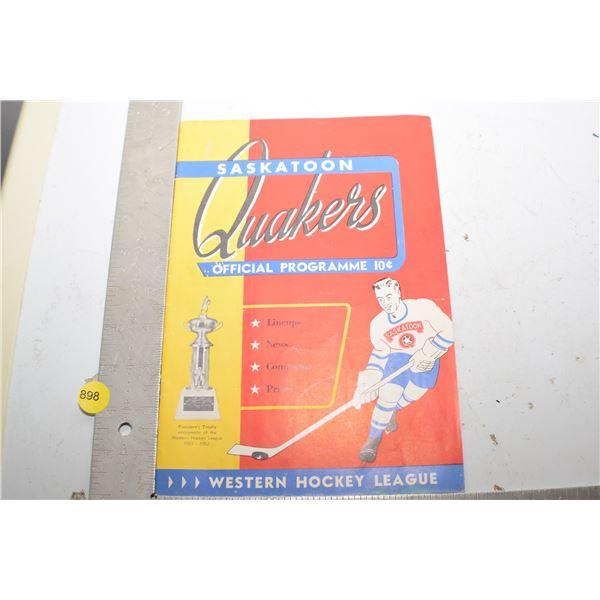 Saskatoon Quakers Program 1952