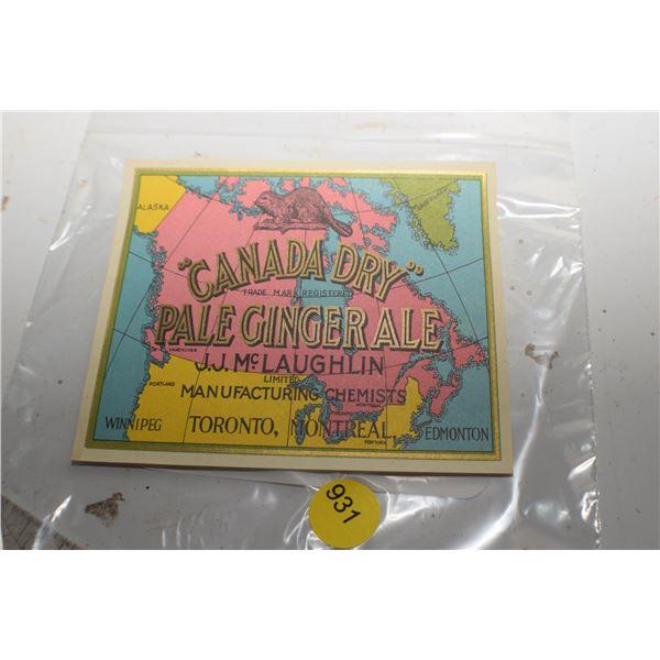 Canada Dry orginal NOS Label by McLauglin of McLaughlin Buick