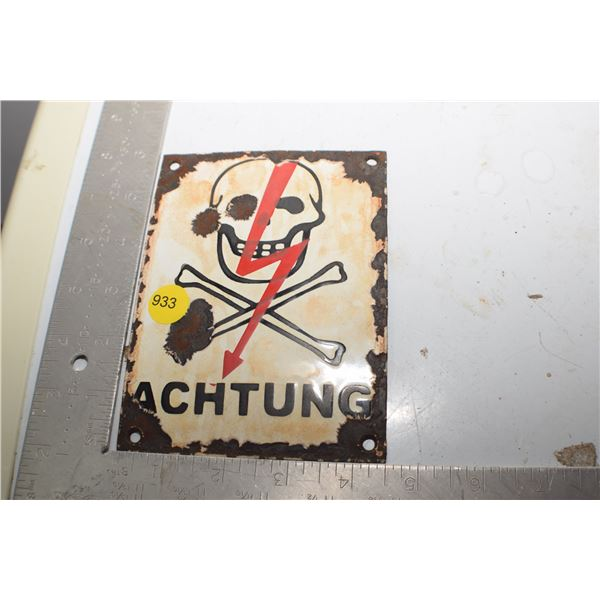Antique Danger sign Nazi Poland