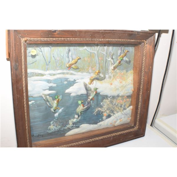 Fantasic Duck Hunting 3D picture/shadow box 24 X 20