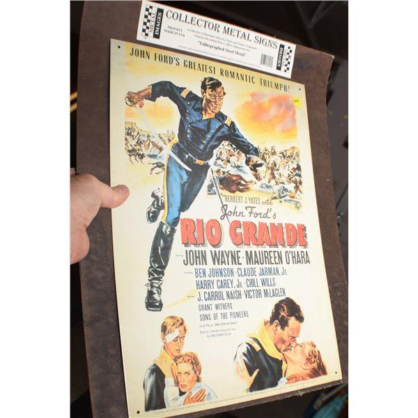Collector John Wayne tin sign